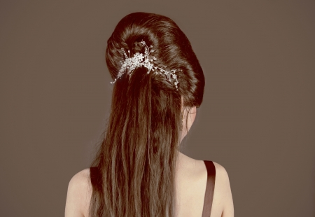 Back of Brown Hair with wedding decoration photo