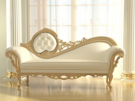 muebles antiguos: Lujoso sofá en el apartamento de interiores modernos
