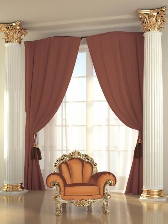 Baroque armchair in luxurious interior hall photo
