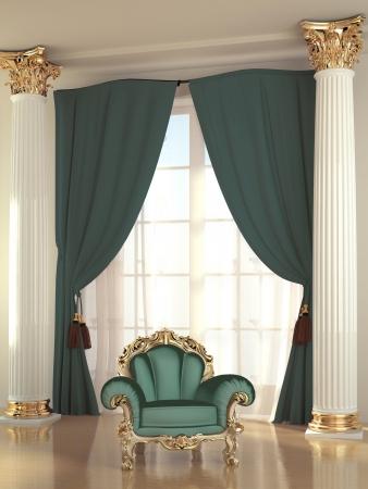 Luxurious green armchair in baroque apartment interior photo