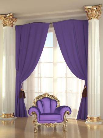 Stuhl: Luxus Sessel in modernem Interieur Wohnung, Barock