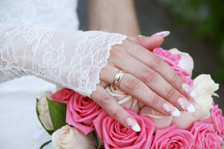 Wedding ring on her finger bride hands photo