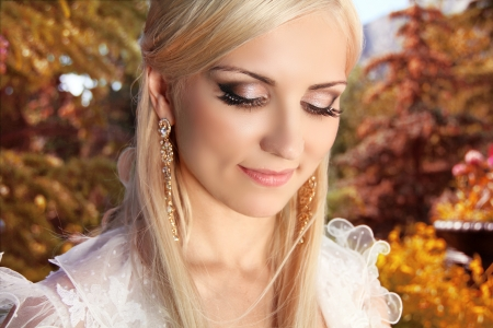 Beautiful bride woman outdoors portrait photo