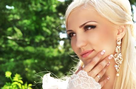 bridal makeup: Wedding decoration, outdoors portrait Stock Photo