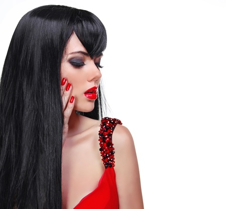 Fashion brunette woman portrait with red nails and Long Hair