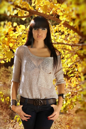 Autumn Brunette Woman Fashion, Outdoors Portrait.  photo