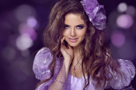Fairy Woman with beauty long brown hair photo