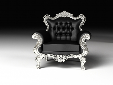 Royal armchair with silver frame, furniture photo