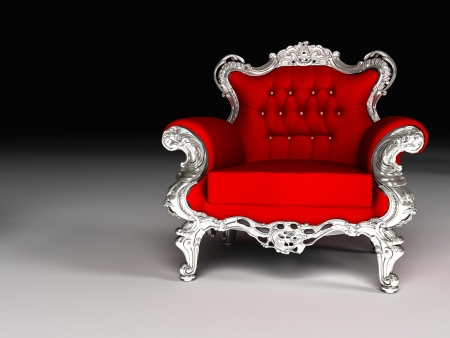 Luxury armchair with silver frame, furniture Stock Photo - 16273498