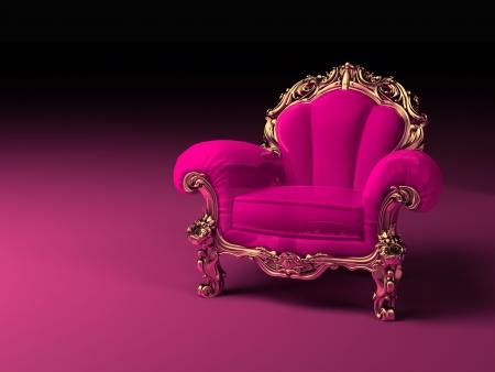 silla: Lujo rosa sill�n con el marco de oro Foto de archivo
