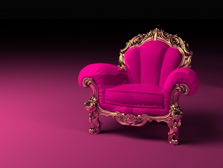 Stuhl: Luxus rosa Sessel mit goldenen Rahmen