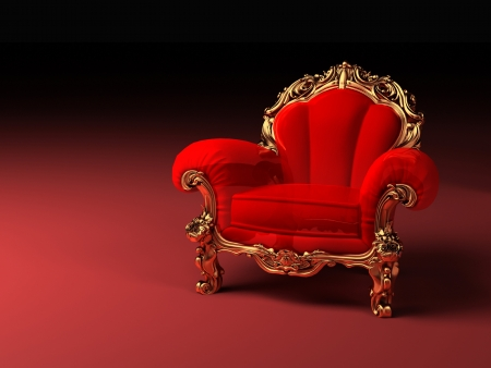 antique chair: Royal red armchair with golden frame