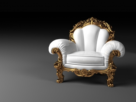 antique chair: Luxury white armchair with golden frame