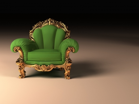 Royal modern armchair with golden frame Stock Photo - 16273487