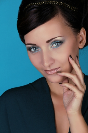 wearer: Portrait of beautiful woman with blue eyes, Beauty and Fashion Stock Photo