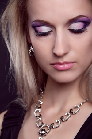 Glamour portrait of beautiful woman model with eye shadows makeup. Stock Photo - 16664712