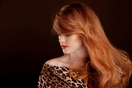 Long Red Hair. Beautiful woman portrait on black background Stock Photo - 16664747