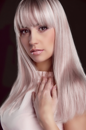 Portrait of young beautiful woman with colored glossy hair Stock Photo - 16794796