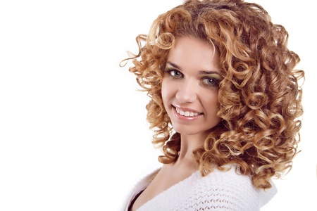 Attractive smiling woman portrait on white background. Beauty Portrait. Curly Hair Stock Photo - 16982158