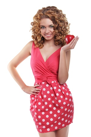 Portrait of Caucasian young woman posing with red apple isolated on white Stock Photo - 16961953