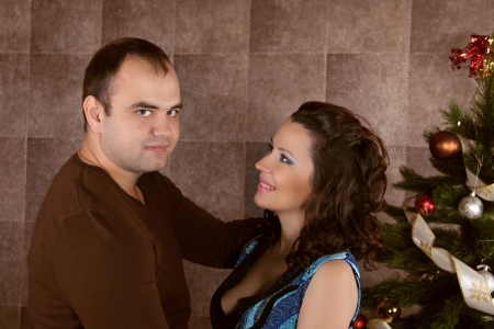 Loving couple embracing, Xmas holidays  photo
