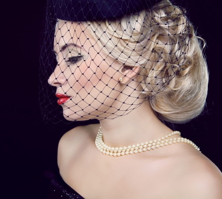 Retro woman portrait. Jewelry and Beauty.  photo
