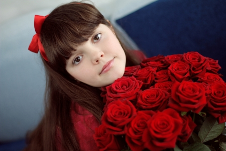 Portrait of attractive teen girl with red roses bouquet flowers Stock Photo - 17852105
