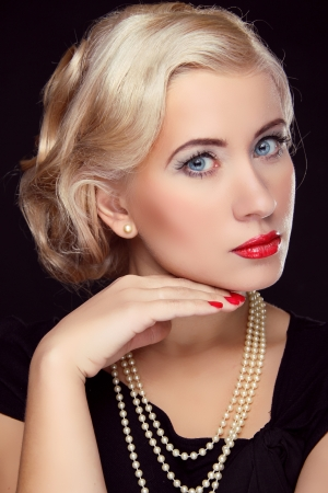 Hairstyle and make up. Retro blond woman portrait, beauty face lady photo