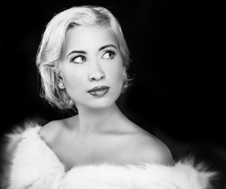 animal photo: Woman in Black & White, Retro style. Romantic Beauty.