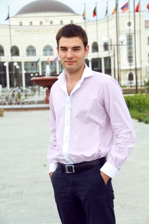 model nice: Elegant young man, outdoors portrait, one person