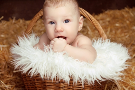 Portrait of funny baby in woven basket on pile of straw background photo