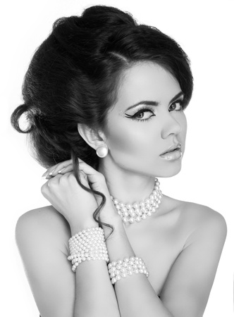 Beautiful woman with evening make-up. Jewelry and Beauty. Black and White photo Stock Photo - 18665399