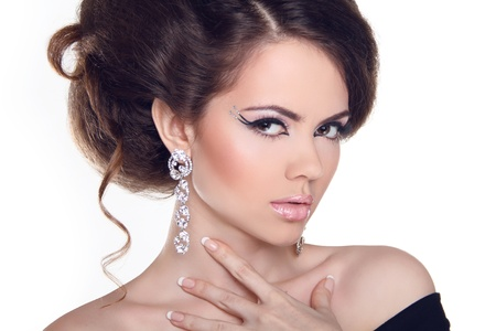 silver jewelry: Fashion Art Portrait Of Beautiful Girl. Vogue Style Woman. Hairstyle.  Stock Photo