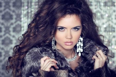 diamond jewellery: Jewelry and Fashion lady. Beautiful Woman wearing in Luxury Fur Coat over