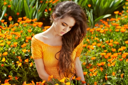 Healthy Long Curly Hair  Beautiful Brunette Woman over marigold flowers, outdoors portrait