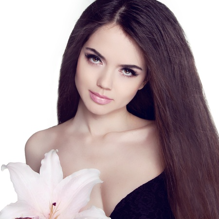 Beautiful Brunette Girl With Healthy Long Hair Stock Photo - 19753755