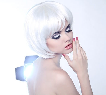 Fashion Beauty Portrait of woman with White Short Hair photo