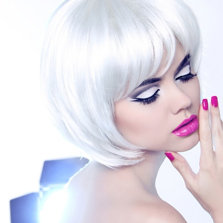 Fashion Style Beauty Woman Portrait with White Short Hair. photo