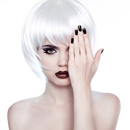 Fashion Beauty Woman Portrait with White Short Hair cover her eye photo
