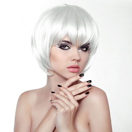 Woman Makeup and Manicured polish nails. Fashion Style Beauty Female Portrait with White Short Hair.