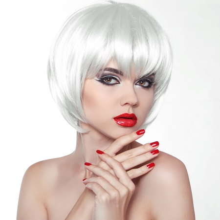 coloring lips: Woman Makeup and Polish nails. Red Lips and Manicured Hands. Fashion Beauty Girl  with White Short Hair isolated on white background.