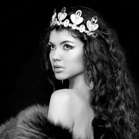 coronet: Luxury portrait. Woman with jewelry and coronet. Black and white photo
