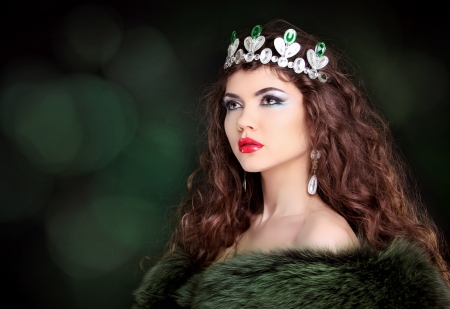 Beautiful woman luxury portrait with long hair in fur coat. Jewelry and Beauty. Fashion art photo Stock Photo - 20580313