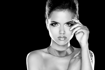 hairdressing accessories: Vogue Style. Glamour Lady. Fashion Beauty Girl. Gorgeous Woman Portrait. Black and white Photo
