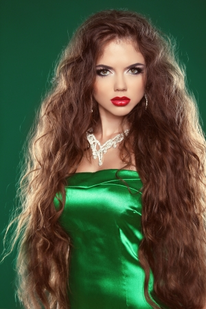Hair. Beautiful Sexy Brunette Woman. Healthy Long Brown Hair. Beauty Model Girl. photo