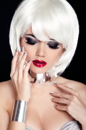 Red Lips. Blond woman with White Short Hair Isolated on Black Background. Fashion and Beauty Portrait. Sexy Girl. Vogue Style Stock Photo - 22183290