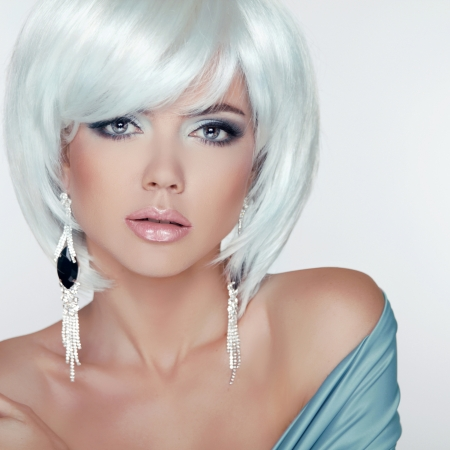 earring: Makeup. Fashion Style Beauty Woman Portrait with White Short Hair. Jewelry.