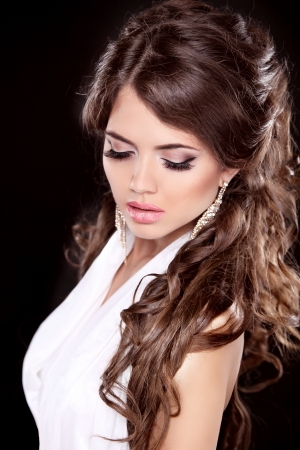 Glamour Fashion Woman Portrait. Makeup. Beautiful brunette with long hair.  Stock Photo - 24661475