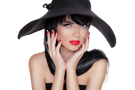 sexy mouth: Sexy Fashion Brunette Woman Portrait in black hat isolated on White background. Makeup. Manicured nails.