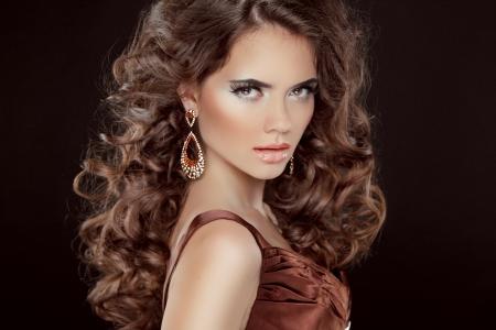 Wavy Hair. Beautiful Sexy Brunette Woman.